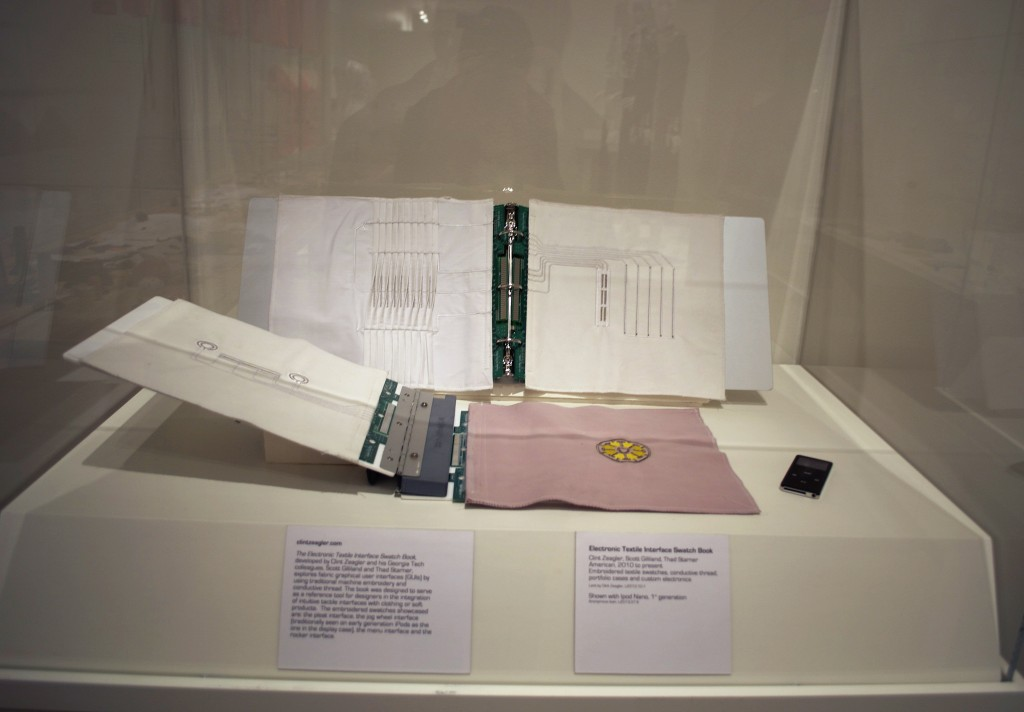 Electronic Textile Interface Swatch Book on display at the Kent State University Museum